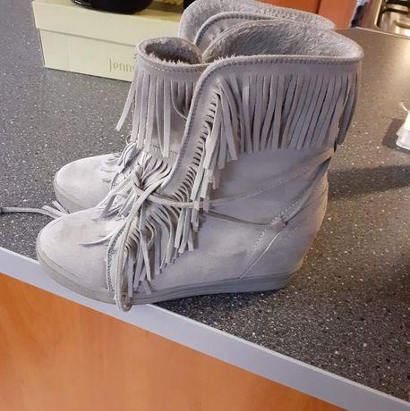 Sneakersy szare i czarne zimowe buty 36 rozmiar