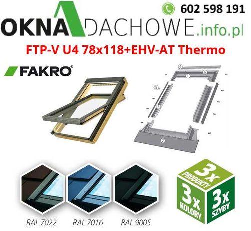 Okno dachowe FAKRO FTP-V U4 78x140 w kolorze antracyt RAL 7016