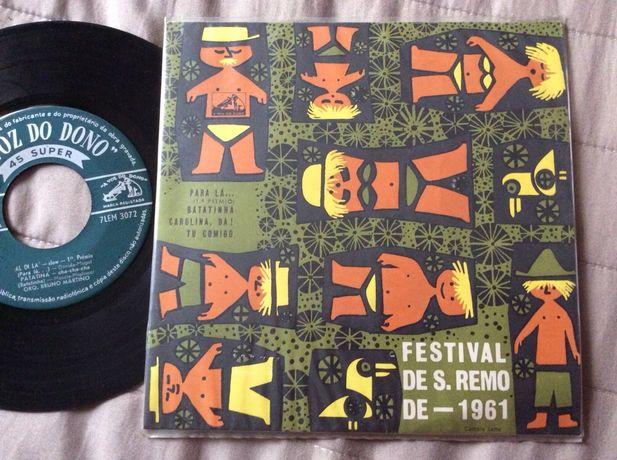 Single Festival S. Remo 1961 Ilustração de João da Camara Leme