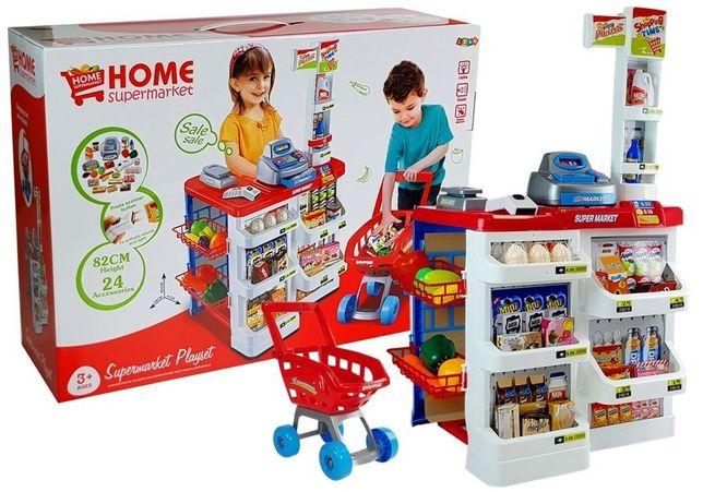 Zabawkowy Market z Wózkiem Kasa Fiskalna Skaner Darmowa wysyłka