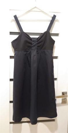 Czarna lniana sukienka na ramiączkach (Yessica) rozm.