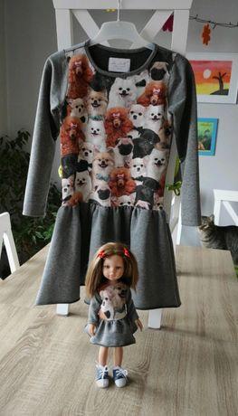 Sukienka dla dziewczynki i lalki la lalla r.134