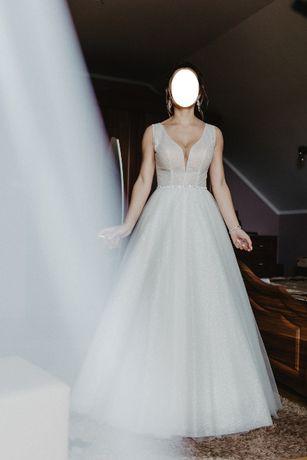 Błyszcząca suknia ślubna diamentowa blask ivory 2020 rozmiar S