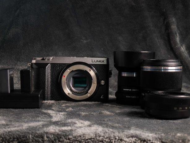 Lumix Gx80 + lumix 12-32 + olympus 45mm