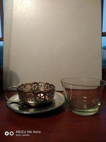 Чашки чайні з підстаканником і тарілкою