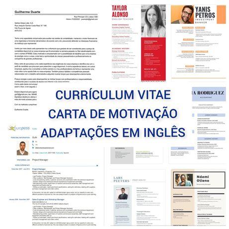 Currículo   Carta de Motivação   Adaptações em Inglês
