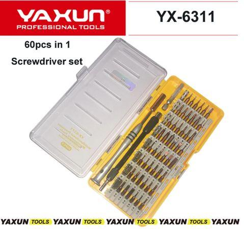 Набор отвёрток 60 в 1 со сменными битами и удлинителем YAXUN YX 6311