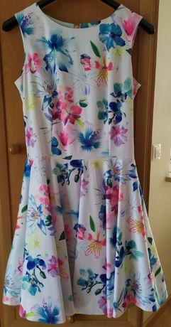 Sukienka, biała w kolorowe kwiaty, 38