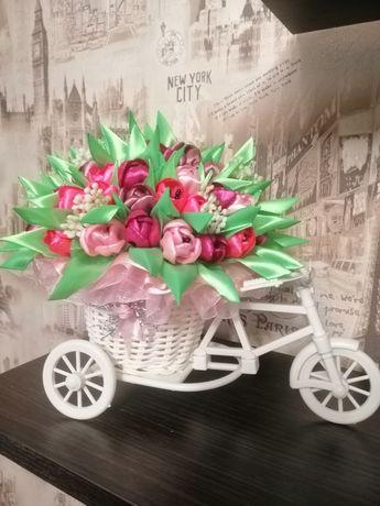 Кашпо велосипед с цветами Hand made