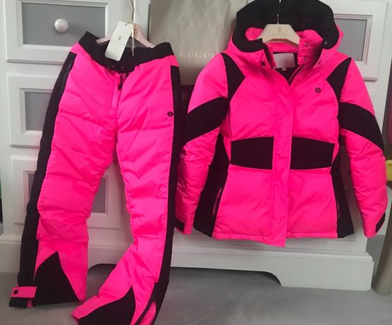 GUCCI neon kurtka i spodnie narciarskie jak NOWE komplet OKAZJA
