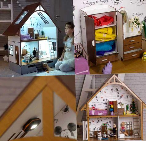 роскошный игровой домик барби румбокс кукольный + мебель + свет