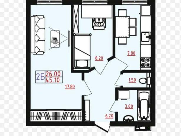 Срочно 2-х комнатная в новом доме на Марсельской за 32 000