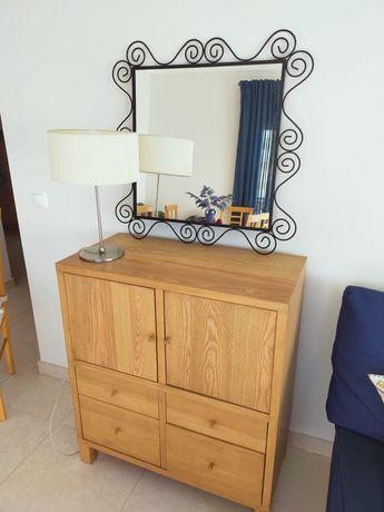 Móvel de sala e espelho rústico stico