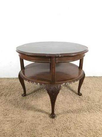 Invulgar mesa redonda de centro com 2 patamares -  madeira