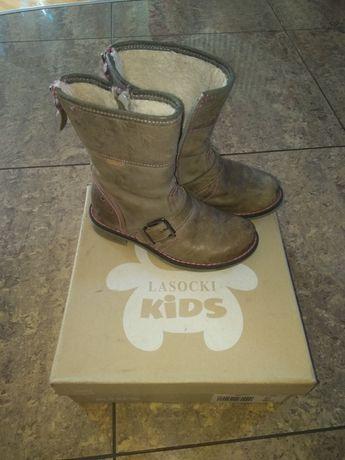 Ładne kozaczki skórzane dla dziewczynki Lasocki kids rozmiar 28