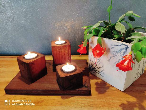 Nowość Zestaw świeczników z litego drewna 30x20 Wiśnia i Brąz