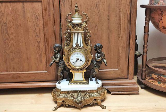 Brąz-Ogromny ,niespotykany zegar kominkowy z herubinami