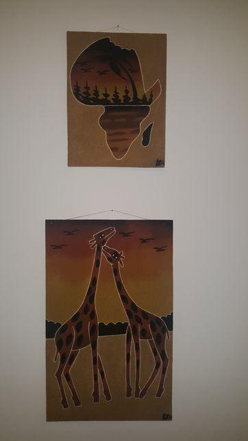 Obraz malowany ręcznie barwionym piaskiem - Afryka - Gambia