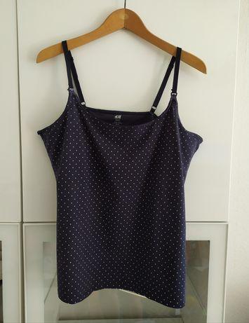 Bluzka do karmienia XL granatowa grochy 42 top koszulka ubrania odzież