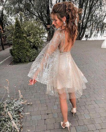 Платье вечернее выпускное свадебное коктельное блестящее трендовое.