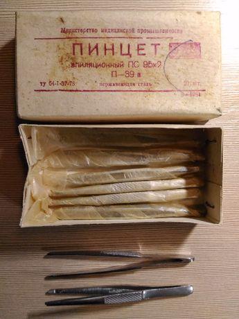 пинцет эпиляционный, пинцет для наращивания, новый, СССР, нерж сталь
