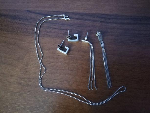 Zestaw biżuterii srebrnej 2 szt kolczyków i łańcuszek