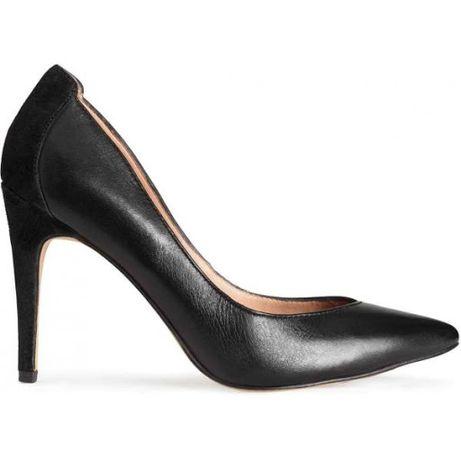 H&M Premium czarne skórzane szpilki obcasy czółenka skóra zamsz 39 40