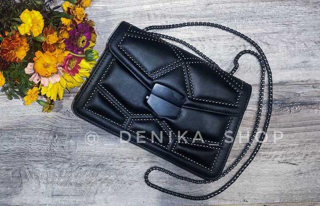 Сумка женская чёрная сумочка цепи цепь экокожа