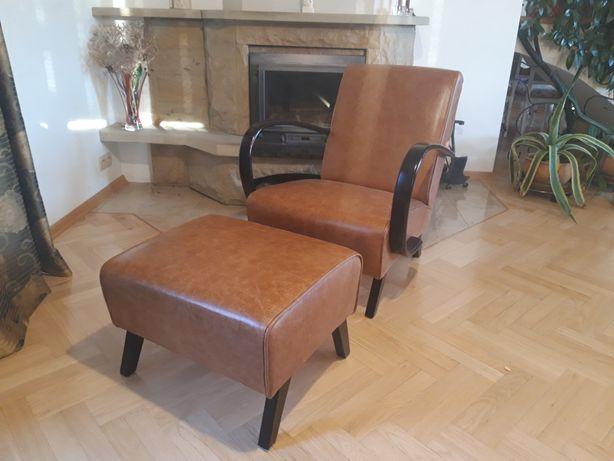 Fotel Halabala H-227 z podnóżkiem. Idealny! Skóra! Vintage