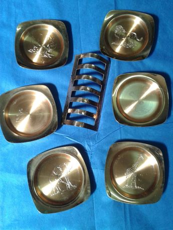 CONJUNTO invulgar de 6 bases metálicas para copos+OFERTA PRESENTE