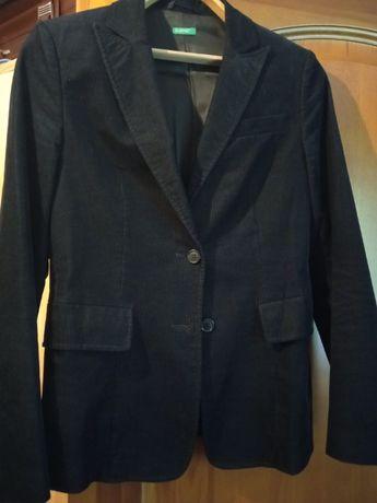 Пиджак жакет Benneton, 38р ,s-m, черный, микровельвет