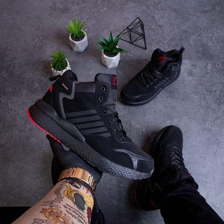 Распродажа Зимние Мужские Кроссовки на меху под Adidas (41-46) black