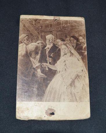 """старинная почтовая карточка В.В. Пукирев """"неравный брак"""" год неизвест"""