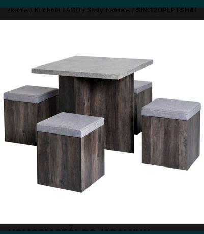 Komplet do jadalni, stół z 4 pufami