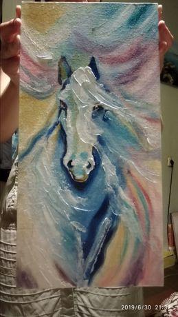 Картина, радужная лошадь.