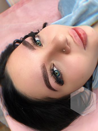 Перманентный макияж (татуаж) пудровые брови, губы, стрелки