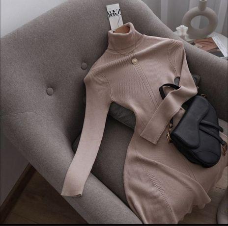 Базовое платье Zara в рубчик