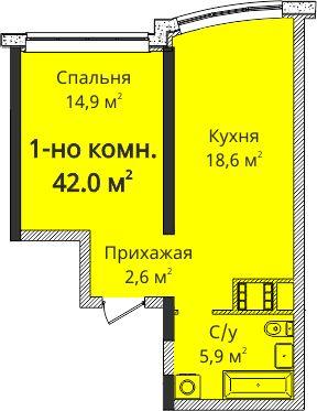 Проспект Гагарина, ЖК 4 сезона.9 этаж.42 метра. за 45000 у.е. ( LK)
