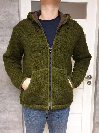 Sweter z Nepalu 100% wełna ręcznie wykonany z podszewką z polaru