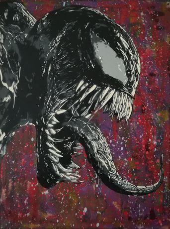Venom, Deadpool, Harley Quinn pinturas original em tela