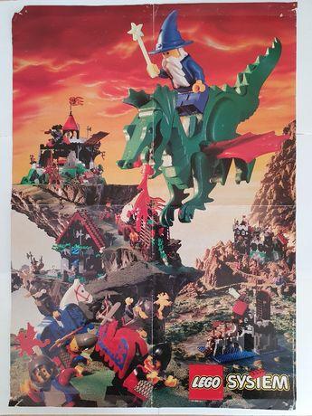 Lego Castle plakat 1993 Wizard Rycerze Smoka stan kolekcjonerski