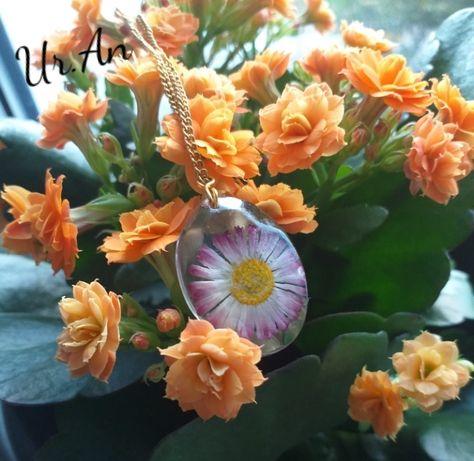 Naszyjnik prawdziwy kwiat stokrotka w żywicy rękodzieło