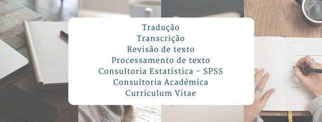 Teses, traduções, transcrições, trabalhos académicos, revisão de texto