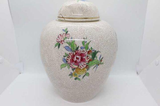 RARO Pote Sião Vista Alegre Floral Craquelê 1924 30 cm