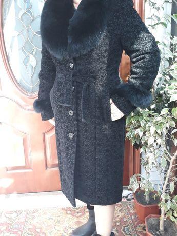 Пальто зимнее женское с мехом 54 размер