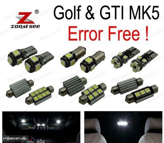KIT COMPLETO DE 16 LÂMPADAS LED INTERIOR PARA GTI CONEJO VW GOLF 5 MK5 MKV MAPA CÚPULA LUZ INTERIO