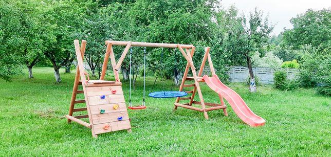 Drewniany Plac Zabaw do Ogrodu Zjeżdżalnia + ŚCIANKA WSPINACZKOWA