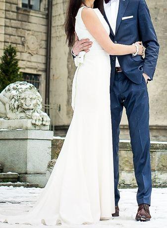 suknia ślubna klasyczna rozm. 38 jasne ecru