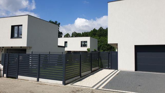Nowoczesne ogrodzenie palisadowe, brama, furtka