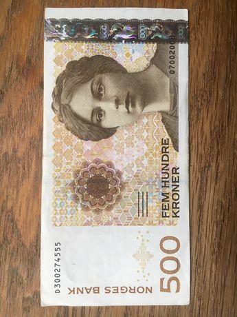 ZAMIANA 500 za 500 Koron Norwegia Banknot